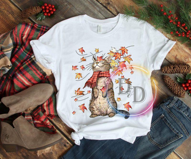 Autumn Cat T shirt t shirt design png