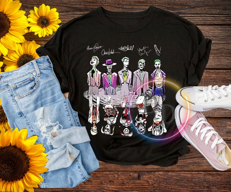 Joker harley quinn charater actors Halloween costume t shirt commercial use t shirt designs