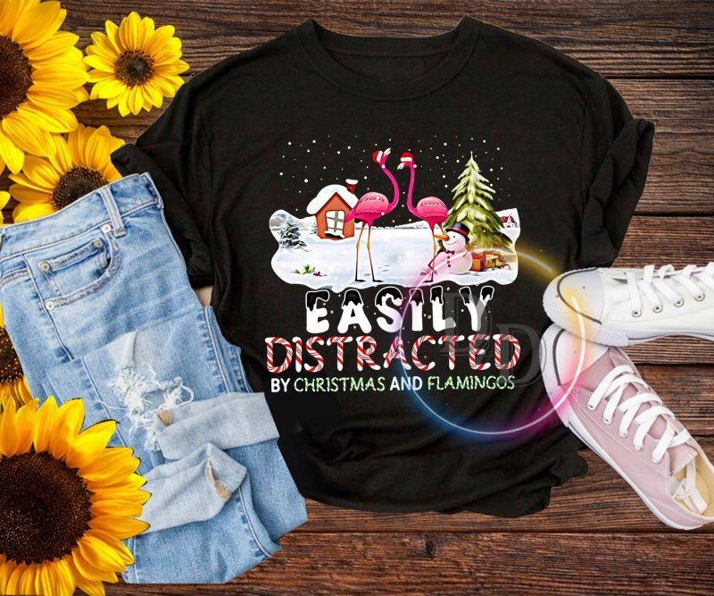 Flamingo Merry Christmas Easily Distracted T shirt tshirt-factory.com
