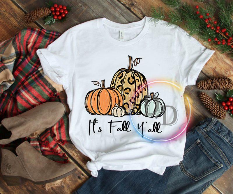 Pumpkin Autumn Leopard It's Fall Y'all T shirt t shirt design png