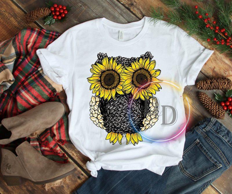 Owl Sunflower T shirt t shirt design png