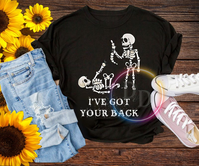 Skeleton I've got your back T shirt Halloween Costume t-shirt designs for merch by amazon