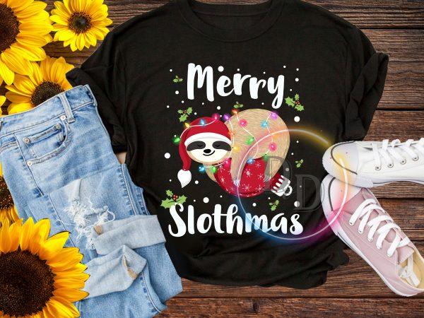 Merry Slothmas Lazy Sloth Merry Christmas T shirt Design