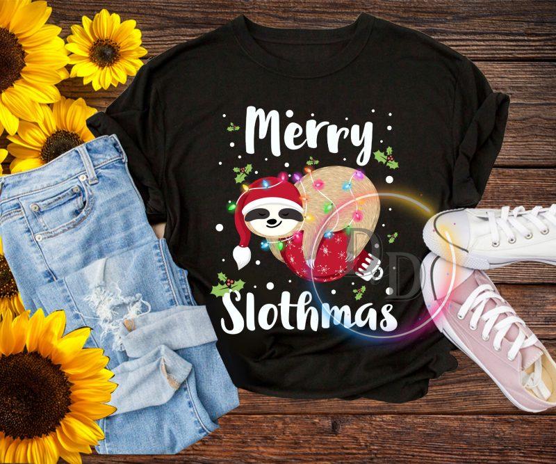 Merry Slothmas Lazy Sloth Merry Christmas T shirt Design t shirt designs for sale