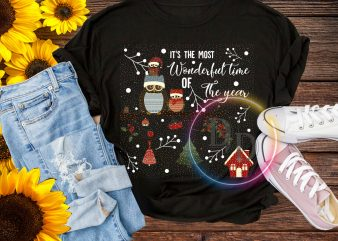 Owl it's the most wonder ful time of the year Merry Christmas T shirt
