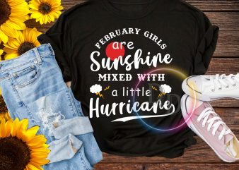 February girls are Sunshine mixed with a little Hurricane Birthday T shirt