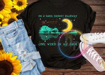 On a dark desert highway cool wind in my hair hippie moon t shirt design