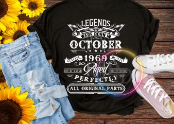 Legends were born in October 1969 Aged Perfectly all orginal parts T shirt Birthday
