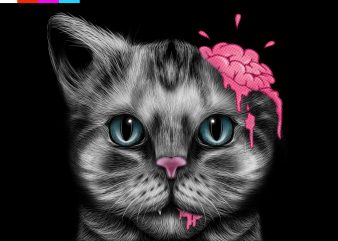 CAT BRAIN , BRUSHING ARTWORK t shirt vector file