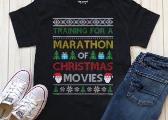 Training for a marathon of Christmas movies t-shirt designs graphic