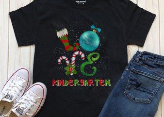 love kindergarten Christmas t-shirt design PNG PSD file