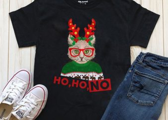 Ho Ho No Cat Christmas T-shirt design PNG PSD