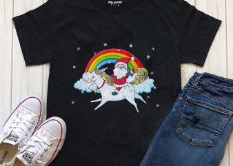 Santa t-shirt design unicorn graphic design PNG