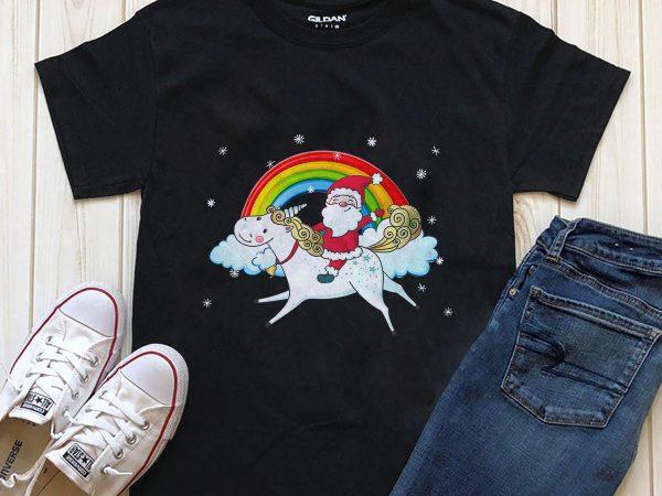 Santa t-shirt design unicorn graphic design PNG