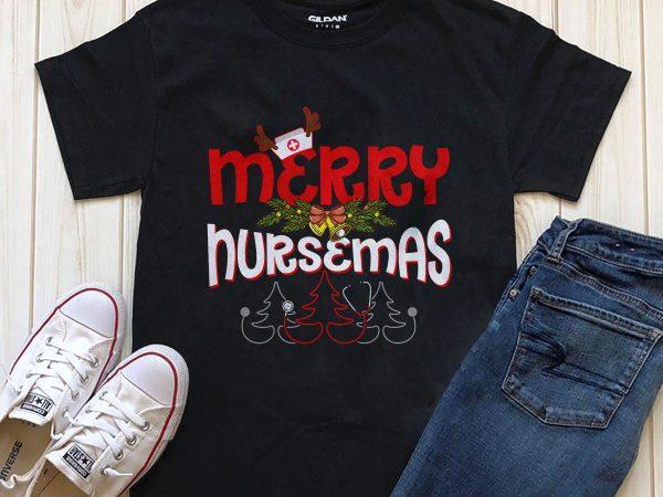 Merry Nursemas download t-shirt design PNG PSD