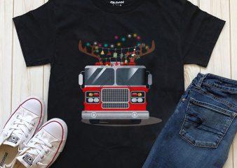 firefighter truck christmas T-shirt design download
