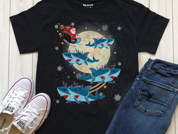 Merry Christmas Santa shark t-shirt design PNG PSD