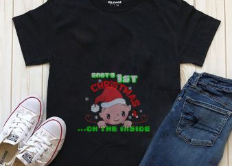 Baby's 1st Christmas on the inside graphic t-shirt design