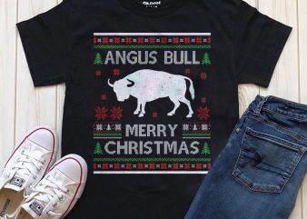 Angus Bull Merry Christmas T-shirt design template