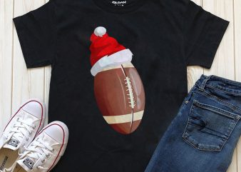 Merry Christmas Rugby Ball graphic t-shirt design template