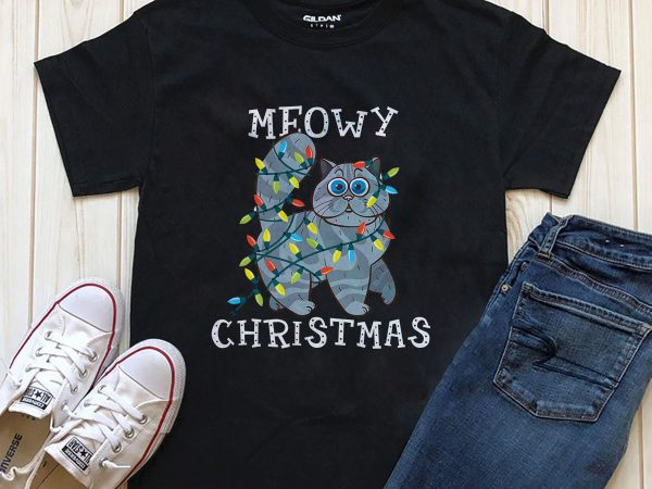 Meowy Christmas cat t-shirt designs PNG PSD for download editable text