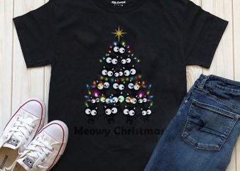 Meowy Christmas Cart T-shirt design for download