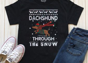 Dachshund through the snow PNG t-shirt design editable text with Photoshop
