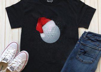 Merry Christmas Golf ball t-shirt design PNG