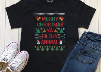 Merry Christmas Ya Filthy Animal Png Psd Editable text T-shirt design