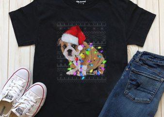 Dog Christmas t-shirt design Png