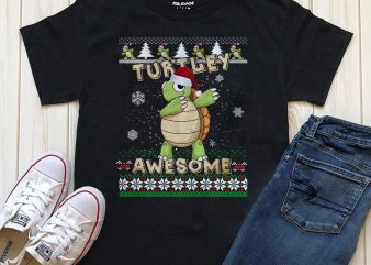 Turtley awesome Christmas T-shirt design