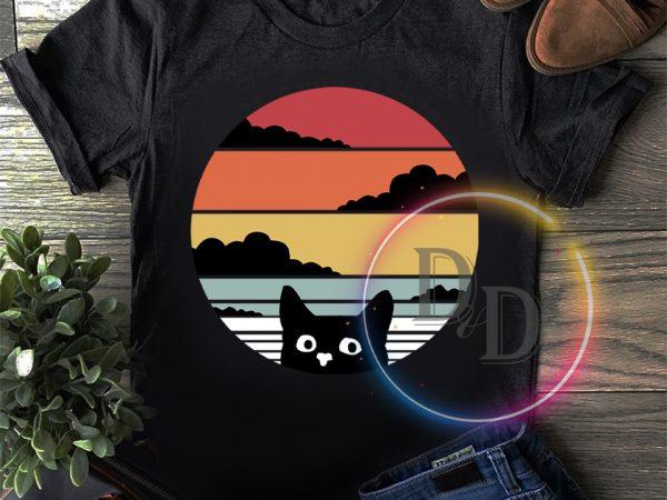 Vintage Black Cat Retro T shirt