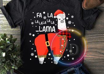 Fa la la la la Llama Santa Claus Costume Merry Christmas T shirt