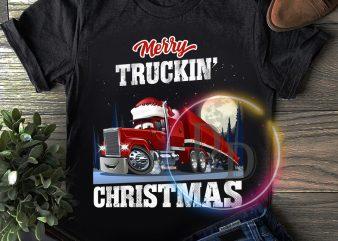 Merry Truckin' Christmas T shirt design Gifts Truckin' Dad