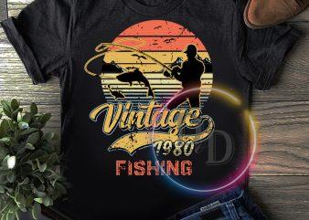 Vintage fishing 1980 40th Birthday T shirt design