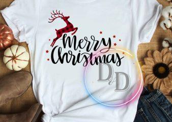 Deer Merry Christmas red T shirt design