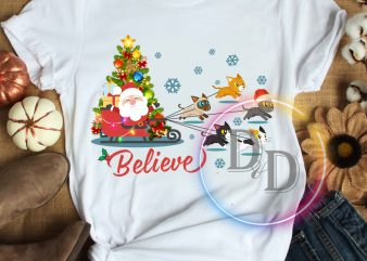 Believe Santa Claus and Cats Merry Christmas T shirt