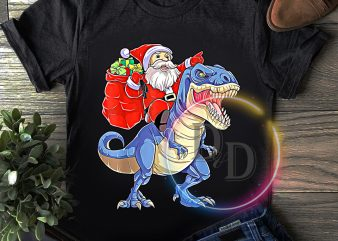 Santa Claus ride T rex Dinosaur Merry Christmas T shirt