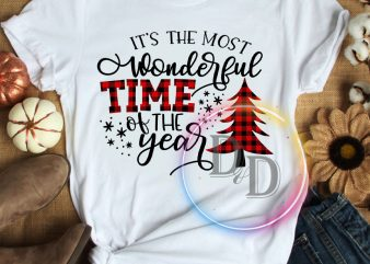 It's the most wonderful time of the year Pine Tree Christmas Lit T shirt