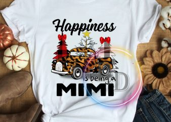Happiness is being a Mimi Leopard car Merry Christmas T shirt