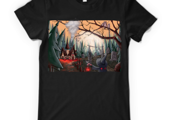 Halloween night t-shirt design for commercial use