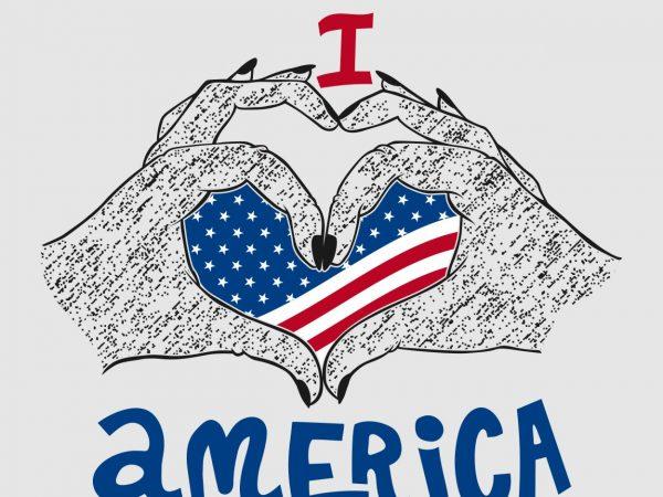 I Love America t shirt design vector template