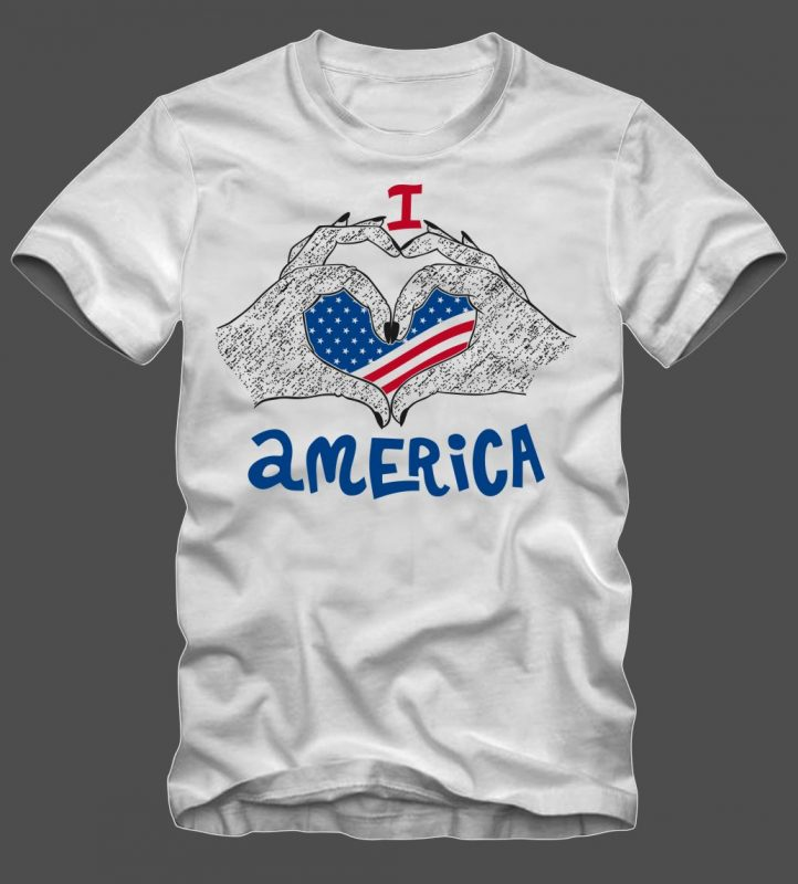 I Love America t shirt design vector template t shirt designs for sale