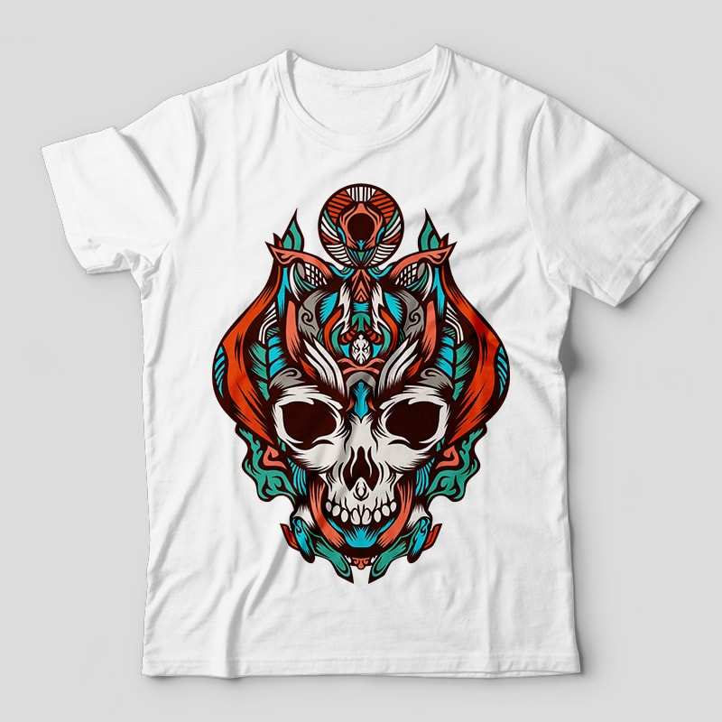 king of the skulls from the darkness vector t-shirt design template tshirt design for merch by amazon