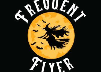 Frequent Flyer Halloween T-shirt Design, Printables, Vector, Instant download