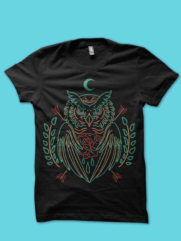 owl line art vector t-shirt design commercial use t shirt designs