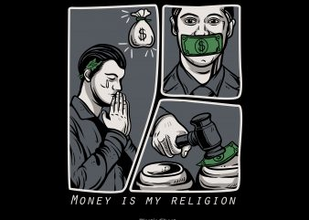 Money is my religion print ready shirt design