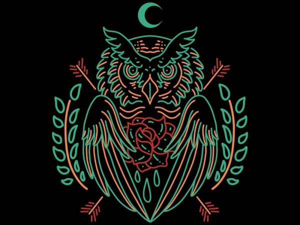 owl line art vector t-shirt design