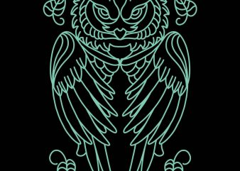 owl monoline tshirt design