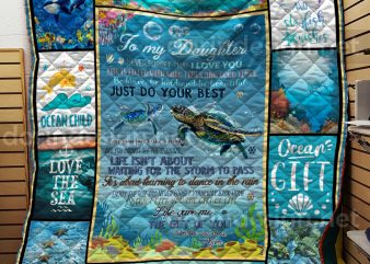 Ocean Turtle GIrl quilts – To my daughter I love you Hippie Girl Quilts T shirt Design
